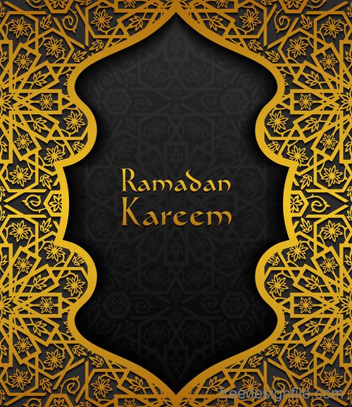 Ramadan kareem golden decor background vector 01