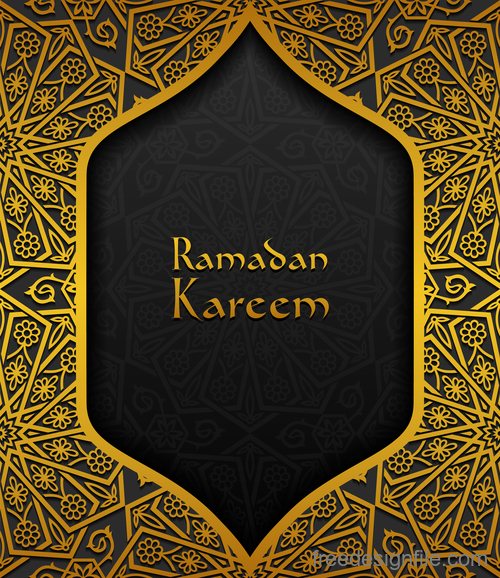 Ramadan kareem golden decor background vector 02