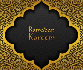Ramadan kareem golden decor background vector 06