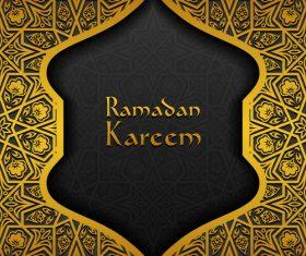 Ramadan kareem golden decor background vector 07