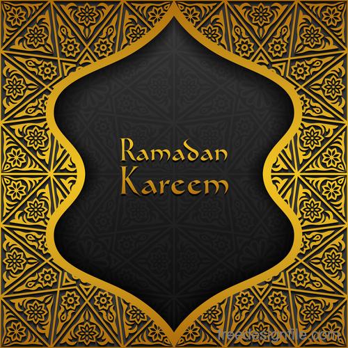 Ramadan kareem golden decor background vector 08