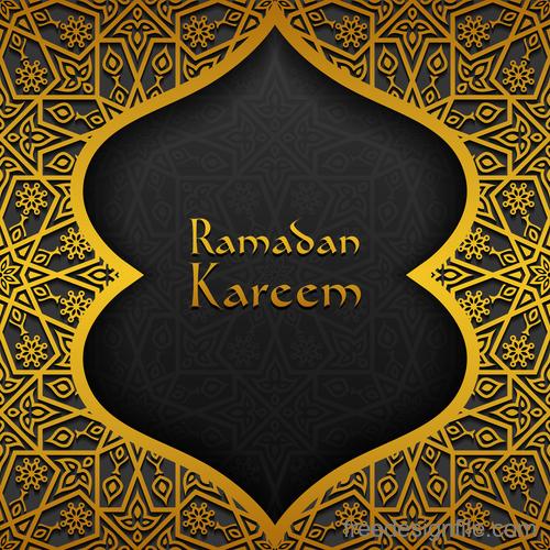 Ramadan kareem golden decor background vector 09