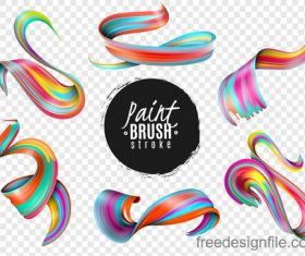Realistic colourful paint brush stroke vectors 02
