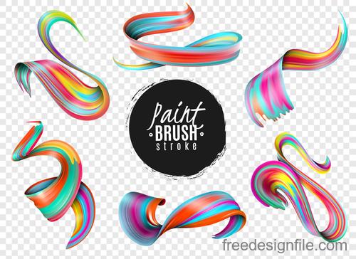 Realistic colourful paint brush stroke vectors 02