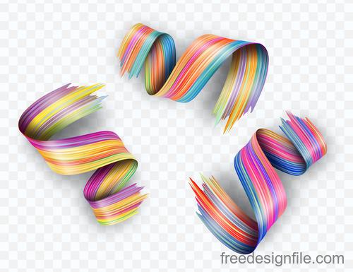 Realistic colourful paint brush stroke vectors 03
