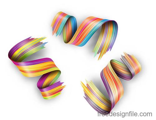 Realistic colourful paint brush stroke vectors 04