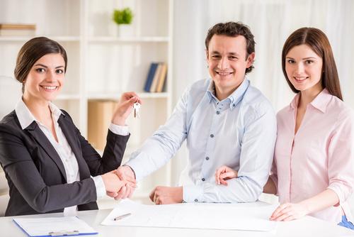 Realtor trader manager rental real estate property Stock Photo 01
