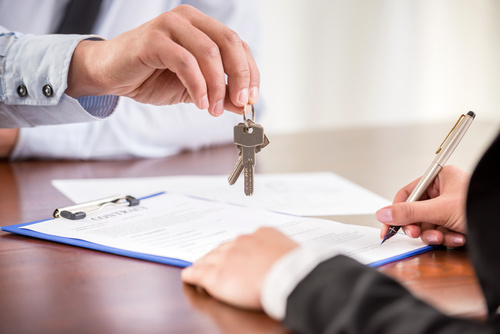 Realtor trader manager rental real estate property Stock Photo 02
