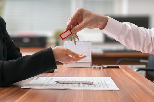 Realtor trader manager rental real estate property Stock Photo 04
