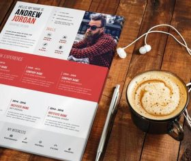 Red Styles Resume CV PSD Template