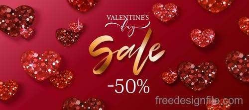 Red Valentines day sale poster vector template