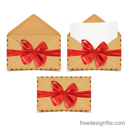 Red bows with envelope vector material