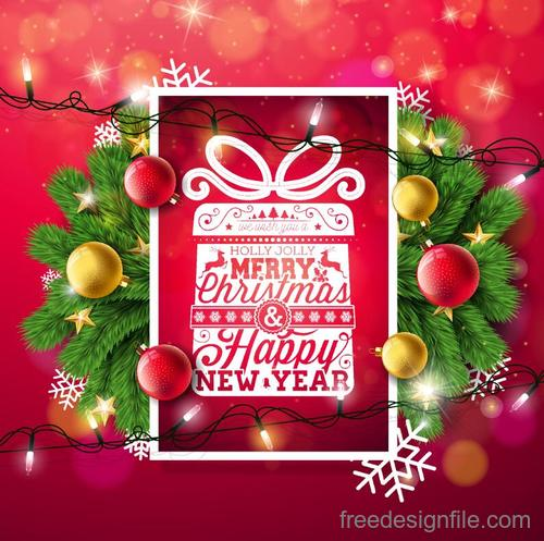 Red chrismtas card template set vectors 02