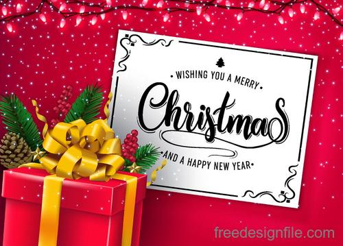 Red chrismtas card template set vectors 03