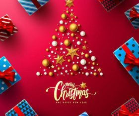 Red chrismtas card template set vectors 05