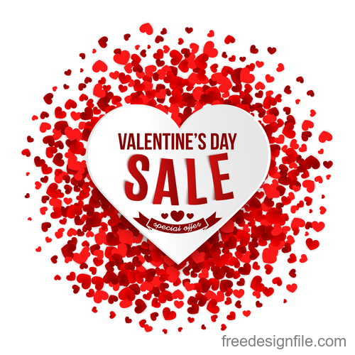 Red confetti with valentines day sale background vector