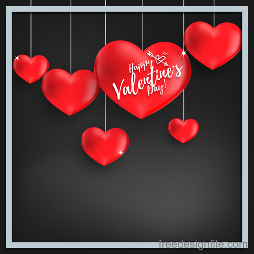 Red heart shape with black valentines day background vector 01