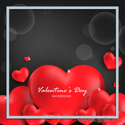 Red heart shape with black valentines day background vector 02