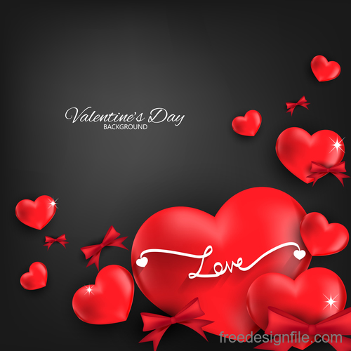 Red heart shape with black valentines day background vector 03