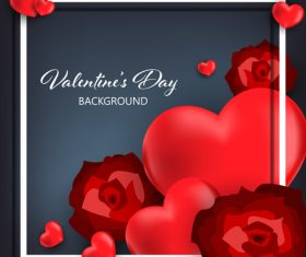 Red heart shape with black valentines day background vector 04