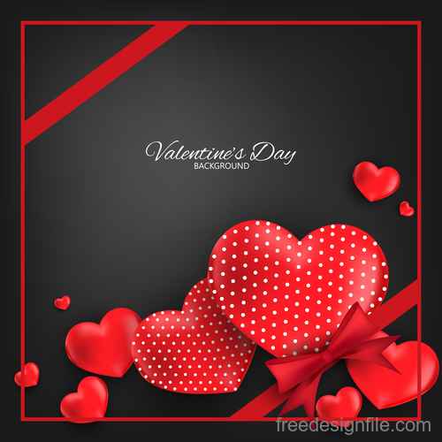 Red heart shape with black valentines day background vector 05