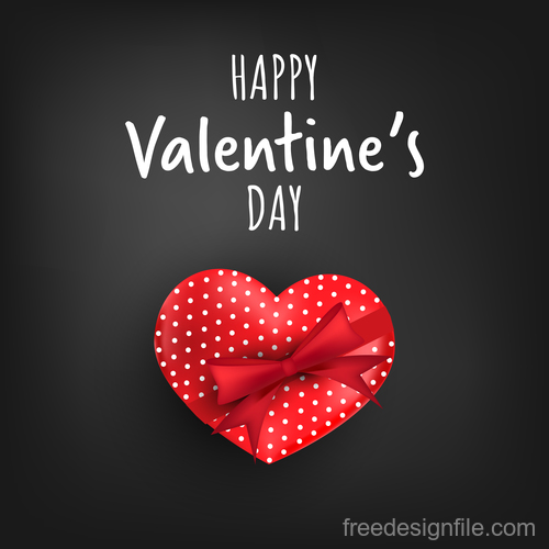 Red heart shape with black valentines day background vector 06
