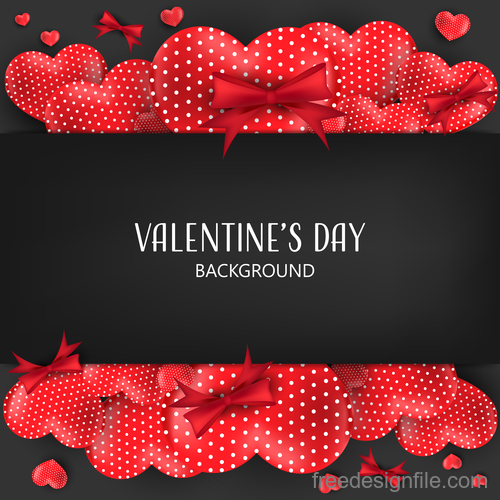 Red heart shape with black valentines day background vector 07