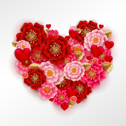 Red heart with beautiful flower vector illustration 02