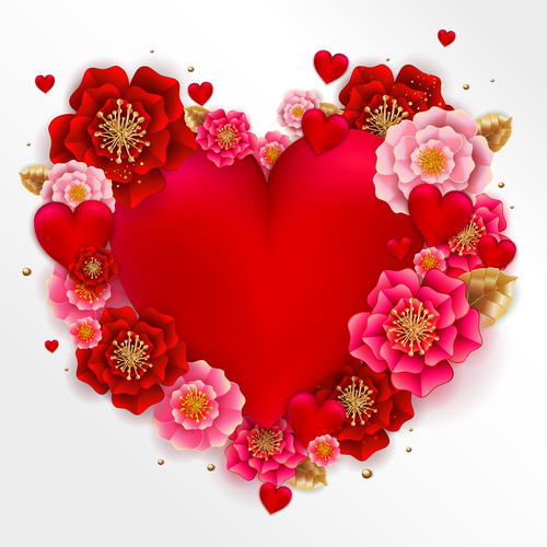 Red heart with beautiful flower vector illustration 03
