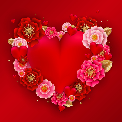 Red heart with beautiful flower vector illustration 04