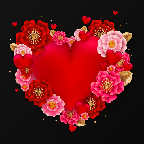 Red heart with beautiful flower vector illustration 05