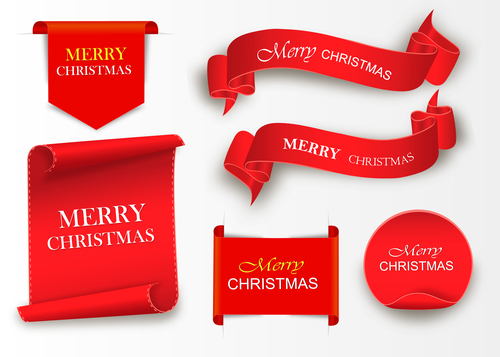 Red merry christmas banners sign vectors 01