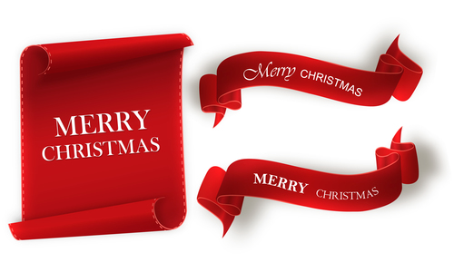 Red merry christmas banners sign vectors 02