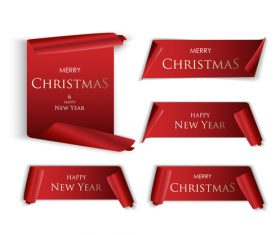 Red merry christmas banners sign vectors 03