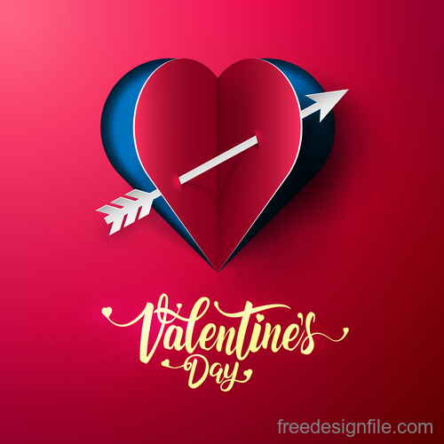 Red paper Valentines day card vectors