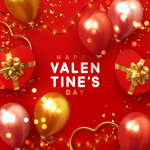 Red valentines day card with balloons vector