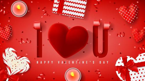 Red valentines day card with red ribbon vector
