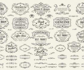 Retro labels design vector set 2