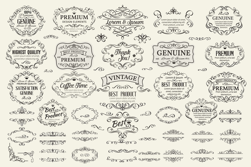 Retro labels design vector set 2