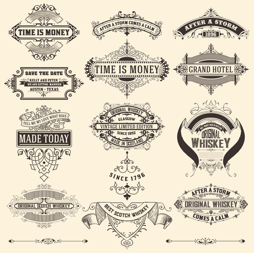 Retro labels design vector set 4