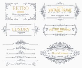Retro labels design vector set 5