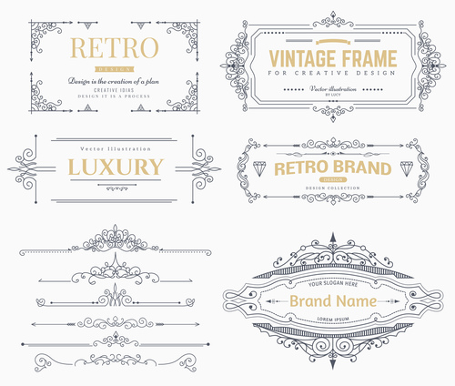 Retro labels design vector set 5