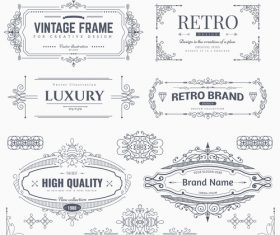 Retro labels design vector set 6