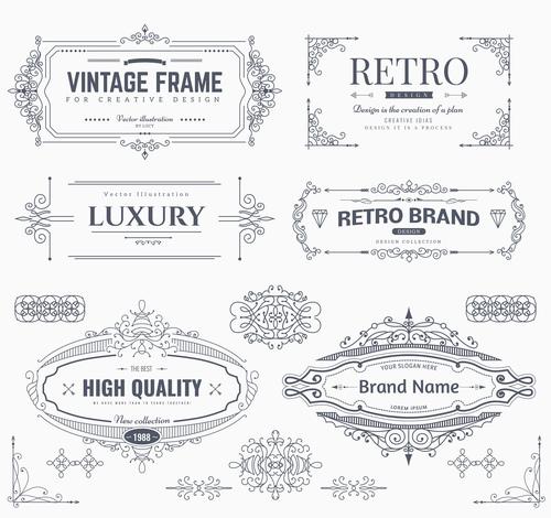 Retro labels design vector set 6