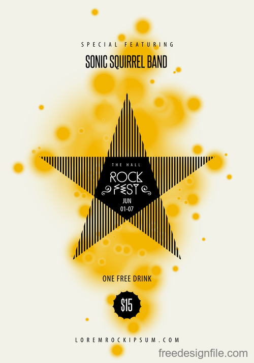 Rock party poster with flyer template vectors 02