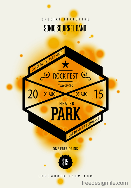 Rock party poster with flyer template vectors 03
