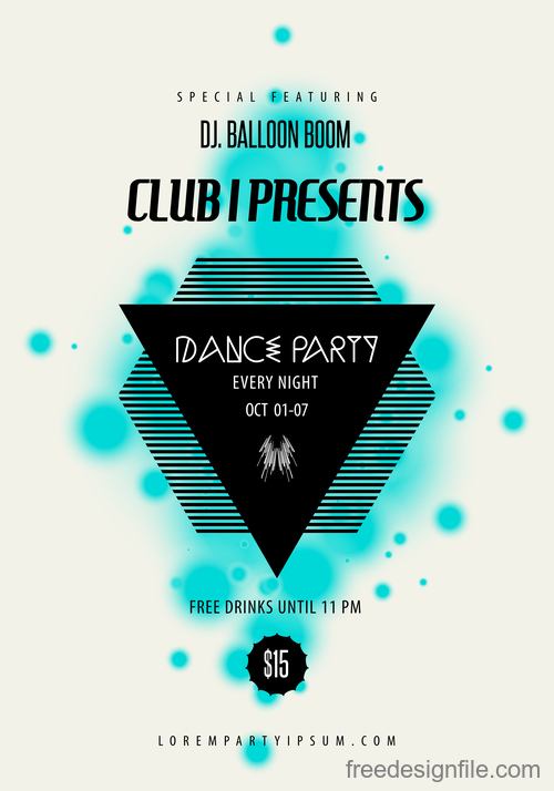 Rock party poster with flyer template vectors 04