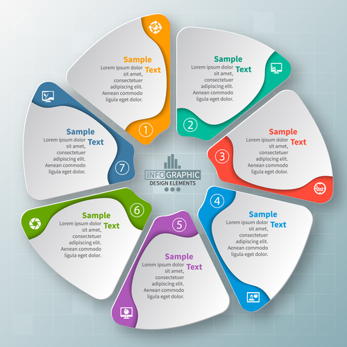 Round infographic template vector design 01