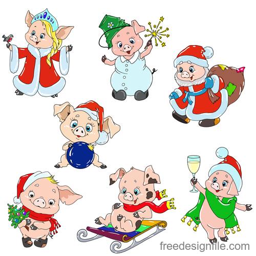 Santa pig cute vector