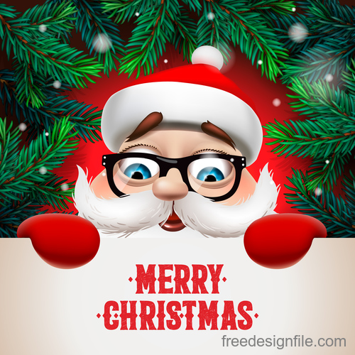 Santa with merry christmas postercard vector